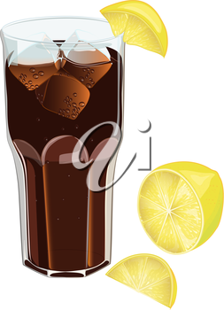 Faceted glass of soda with ice and lemon in a realistic style. Vector illustration