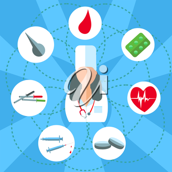 Attending doctor. Set isolated medical instruments and drugs in a flat style for web and mobile applications. Tablets, syringes, pipette. Vector illustrations