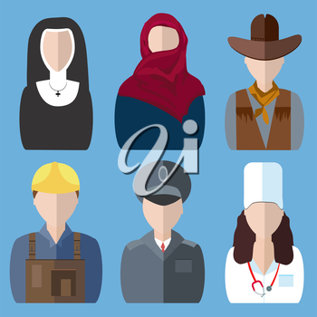 Icons in the colorful, cartoon style graphics. People of different professions. Men and female characters of different specialties on blue. Clip art of various spheres of activity for the design. Vect