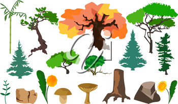 Set different plants trees fungi, stones, flowers. In flat polygon style design for applications and websites. Vector illustration