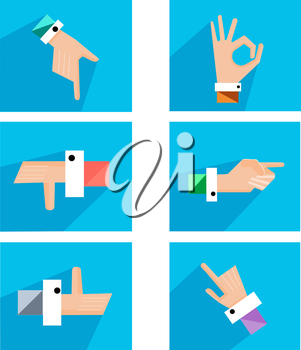 Set creative hands in different colors made into a flat style. Hands show different gestures. Vector illustration
