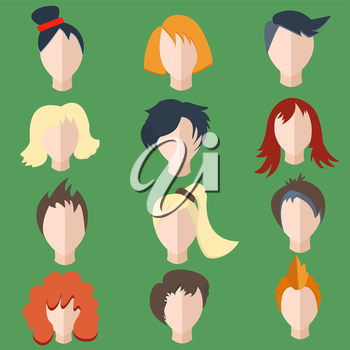 Set isolated of stylish, faces, hairstyles men and women wigs into a flat style. The modern concept of editable icons for your design. Vector illustration