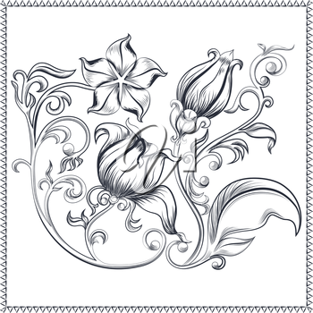 Vintage ornate floral pattern with lots of curls, flowers and leaves. It can be used to design postcards. Vector illustration
