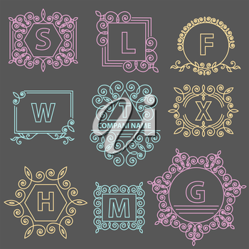 Set logos template elegant ornament lines. Business sign, emblem for Restaurant, Boutique, Hotel, Jewelry, Fashion. Isolated vector illustration