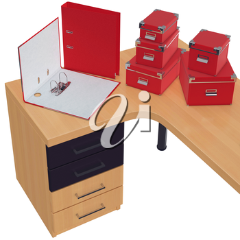 Red colored boxes for papers with chrome plated edges and corners. Open office folder for documents  with fastening. 3d graphic object on white background isolated