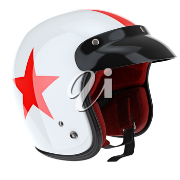 Glossy sports helmet for the rider with red stripe. 3D graphic object on white background isolated
