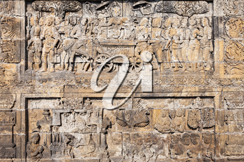 Relief panel in Borobudur Temple in Magelang, Central Java in Indonesia