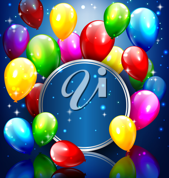 Multicolored inflatable balloons with circle frame on blue background