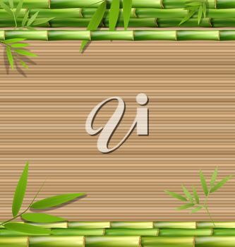 Green bamboo grass on brown background