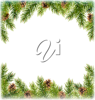 Green Christmas Tree Pine Branches with Pinecones Like Frame with Snowfall on White Background