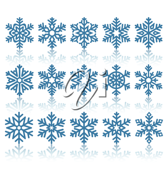 Black Flat Snowflakes Icons with Reflection Isolated on White Background
