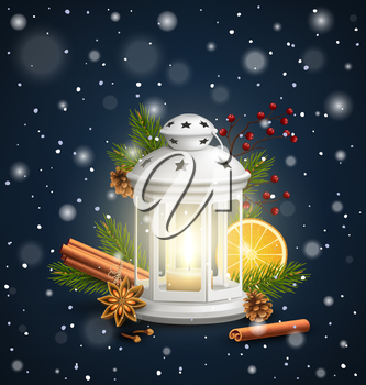 Christmas Lantern with Spices in Snowfall on Dark Blue Background