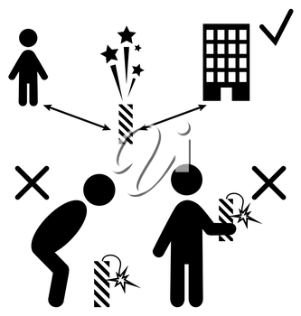 Set of Pyrotechnics Safety Precaution Measures Information Rules Flat Black Pictograms People Icons Isolated on White Background