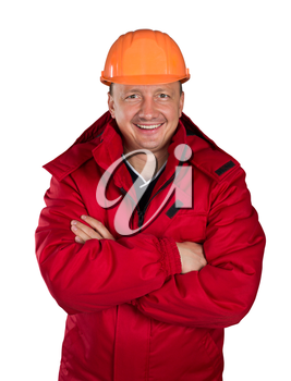 Happy worker isolated on white