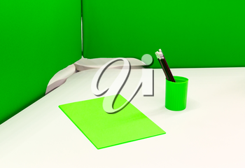 Green sheet of paper and pencils in a green container