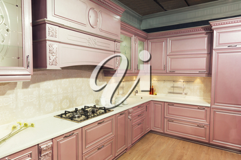Beautiful custom kitchen interior design in patel colors