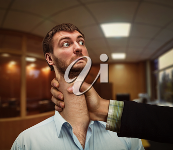 Businessman with a long neck with woman's hand squeezing it