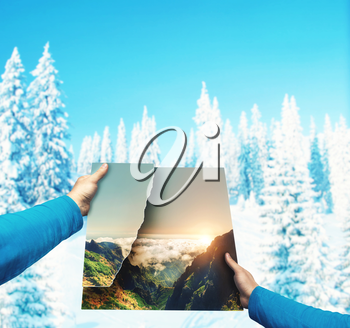 Male hands holding picture of summer landscape against winter mountains