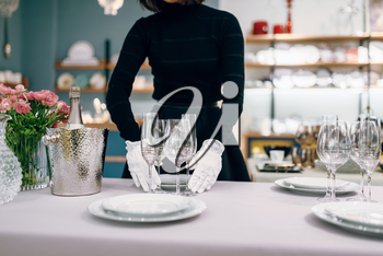 Waitress in gloves puts the dishes for dining, table setting. Serving service, festive dinner decoration, holiday dinnerware