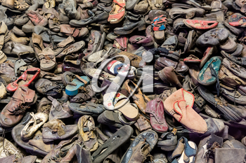 Shoes of victims, German concentration death camp Auschwitz II, Birkenau, Poland. Museum of prisonres of the nazi genocide of the Jewish people