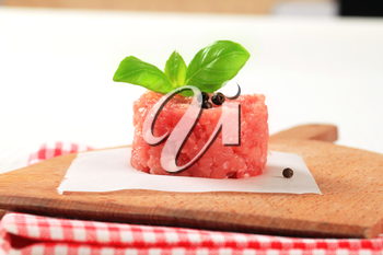 Fresh minced meat on a cutting board