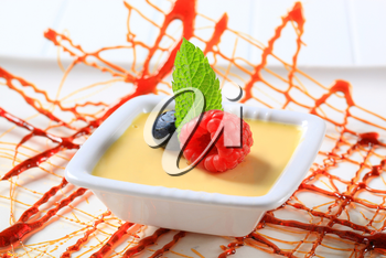 Small dish of vanilla custard topped with fruit