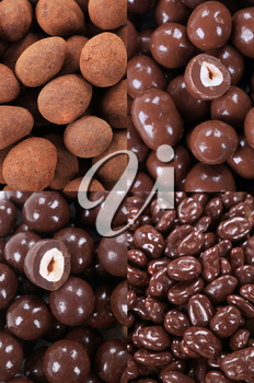 Variety of chocolate covered nuts - detail
