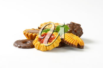 Assorted butter cookies with jam, chocolate and peanut butter