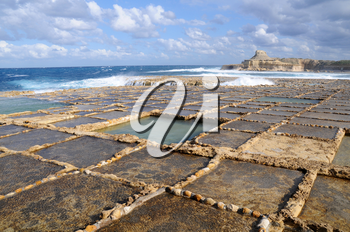 Salt evaporation ponds off the coast of Gozo