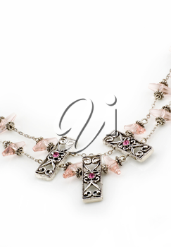 Beautiful necklace with pink beads and gemstones