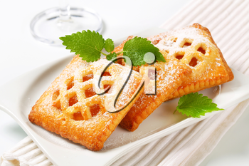 Little lattice-topped pies with apricot filling