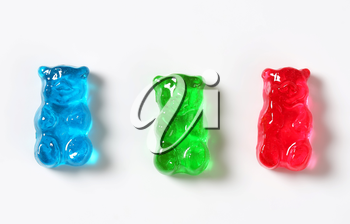 Fruit flavored gummy bears in assorted colors