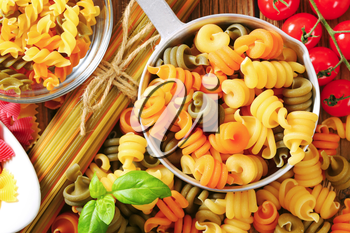 Various types of colored pasta
