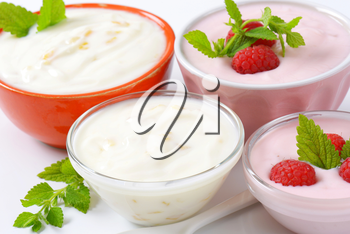 Bowls of yogurt with fruit
