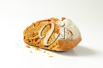 Crusty bread on white background