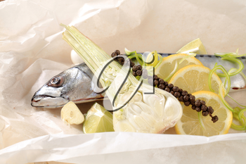 Fresh mackerel and other ingredients on paper