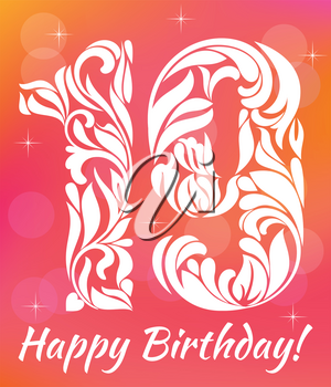 Bright Greeting card Invitation Template. Celebrating 19 years birthday. Decorative Font with swirls and floral elements.