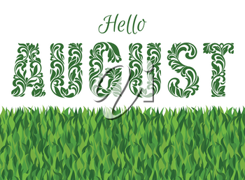 Hello AUGUST. Decorative Font made in swirls and floral elements isolated on a white background with grass.