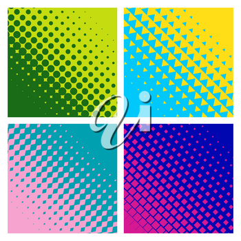 Angular Colorful halftone gradients. Minimal design. Suitable for banner, poster, cover, brochures, flyers.