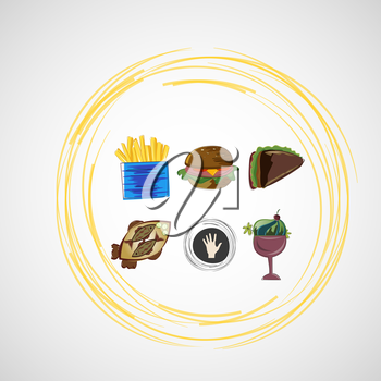 Set color vector sketches icons of food.