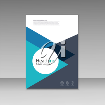 Abstract triangle line brochure cover design. A4 size template.