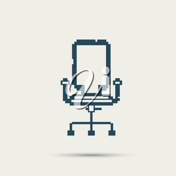 Simple stylish pixel icon chair. Vector design.