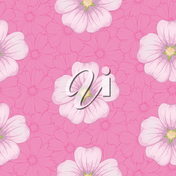 Seamless floral background, pink mallow flowers and cosmos contours. Vector
