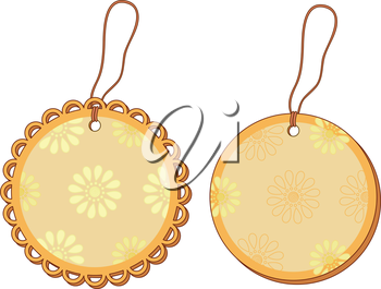 Round labels tags with floral pattern and ropes. Vector