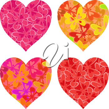 Set isolated Valentine holiday hearts with patterns of colorful butterflies. Vector