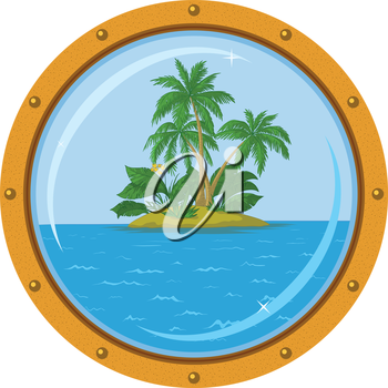 Tropical sea island with palm trees, view from the bronze ship window - porthole. Vector