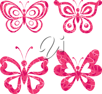 Set butterflies with red pink pattern isolated on white background. Eps10, contains transparencies. Vector