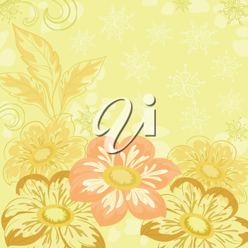 Yellow holiday background with flowers and leaves dahlia. Vector