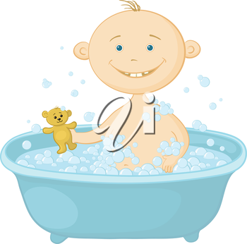 Cartoon, cheerful smiling child sitting in a bath with soap and holding a teddy bear. Vector