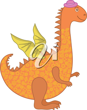 Symbol of holiday East New Years orange and yellow dragon in a lilac hat. Vector
